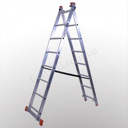 Лестница STS двухсекционная раскладная 2 × 8 (алюминиевая, универсальная)