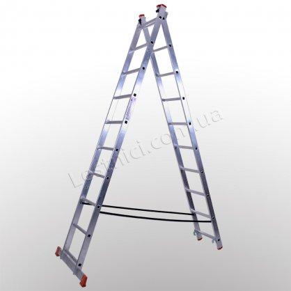 Лестница STS двухсекционная раскладная 2 × 10 (алюминиевая, универсальная)