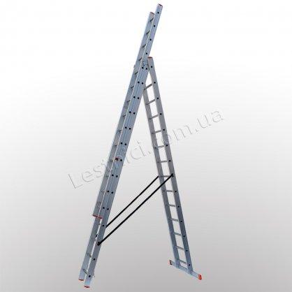Лестница профессиональная STS трехсекционная раскладная 3 × 14 (алюминиевая)