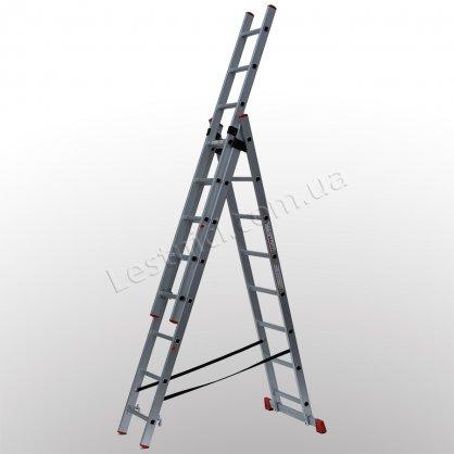 Лестница ПРАКТИКА трехсекционная раскладная 3 × 8 (алюминиевая, универсальная)