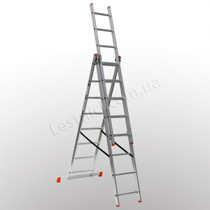 Лестница STS трехсекционная раскладная 3 × 8 (алюминиевая, универсальная)