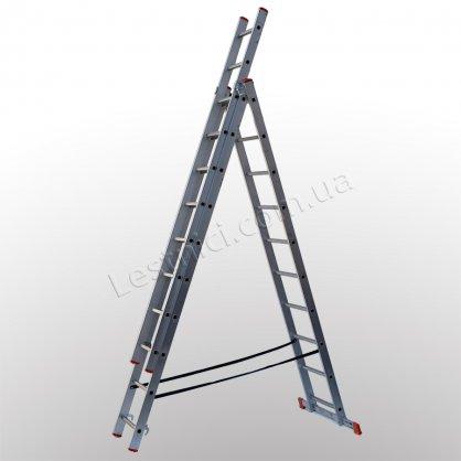 Лестница STS трехсекционная раскладная 3 × 10 (алюминиевая, универсальная)