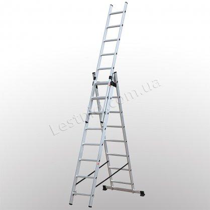 Лестница КРОК трехсекционная раскладная 3 × 8 (алюминиевая, универсальная)
