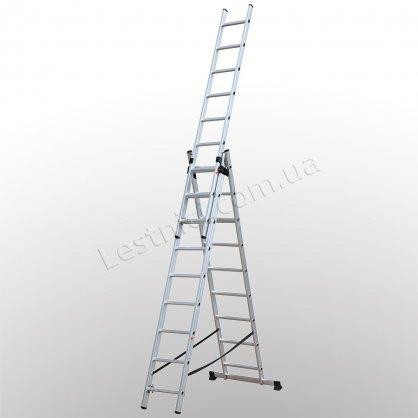 Лестница КРОК трехсекционная раскладная 3 × 9 (алюминиевая, универсальная)