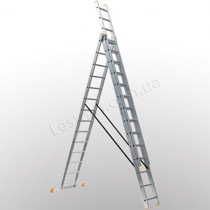 Драбина КРОК трисекційна розкладна 3 × 14 (алюмінієва, універсальна)