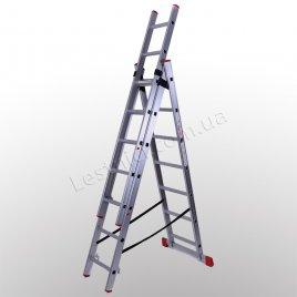 Лестница ПРАКТИКА трехсекционная раскладная 3 × 7 (алюминиевая, универсальная)