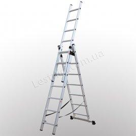 Лестница КРОК трехсекционная раскладная 3 × 7 (алюминиевая, универсальная)
