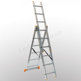 Лестница КРОК трехсекционная раскладная 3 × 6 (алюминиевая, универсальная)