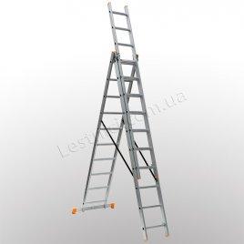 Лестница КРОК трехсекционная раскладная 3 × 10 (алюминиевая, универсальная)