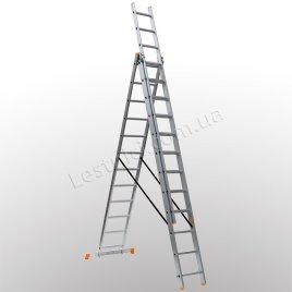 Лестница КРОК трехсекционная раскладная 3 × 12 (алюминиевая, универсальная)