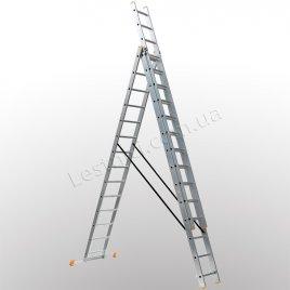 Лестница КРОК трехсекционная раскладная 3 × 14 (алюминиевая, универсальная)